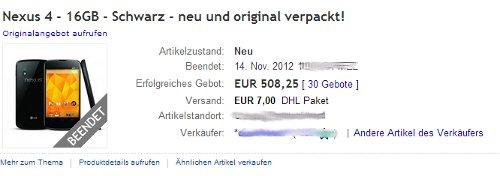 Nexus 4 Verkauf bei eBay