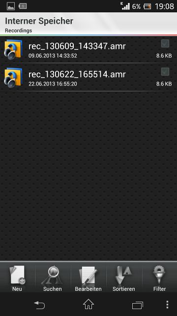 Xperia Screenshot Audiodateien