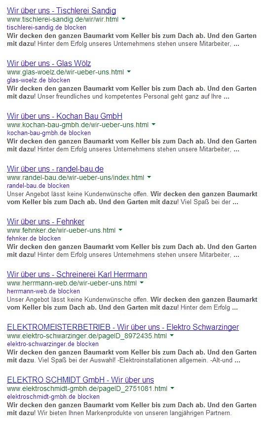 Google Webbaukasten Suchergebnisse