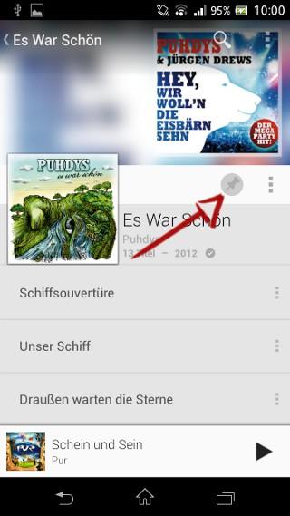 Lieder offline verfügbar machen
