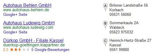 Google Places Ergebnisliste