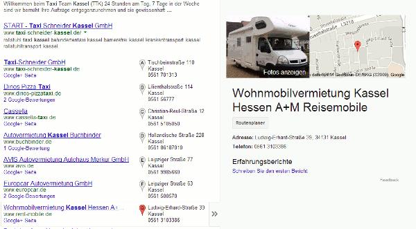 Darstellung Google Places Suchergebnis