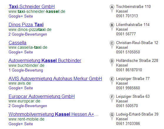 Suchergebnisse Google Places