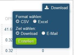 OnPage Exportfunktionen