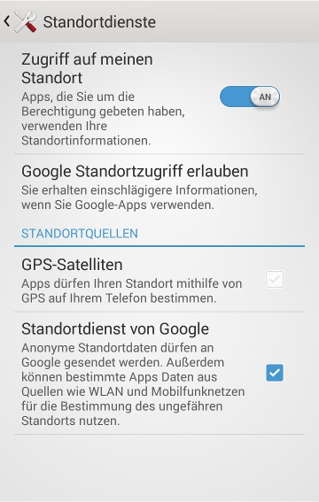 Android Standorteinstellungen