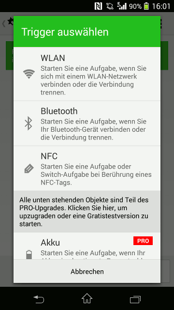 Screenshot Android NFC Tag einrichten
