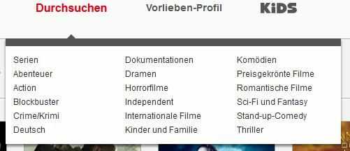 Sortieren bei Netflix