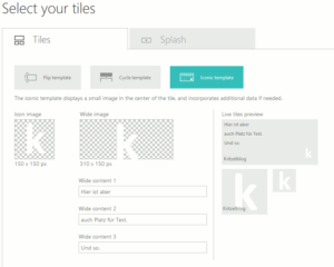 Windows App Studio Kacheln gestalten