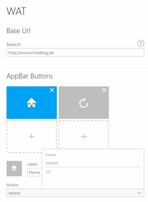 Windows App Studio WAT Vorlage