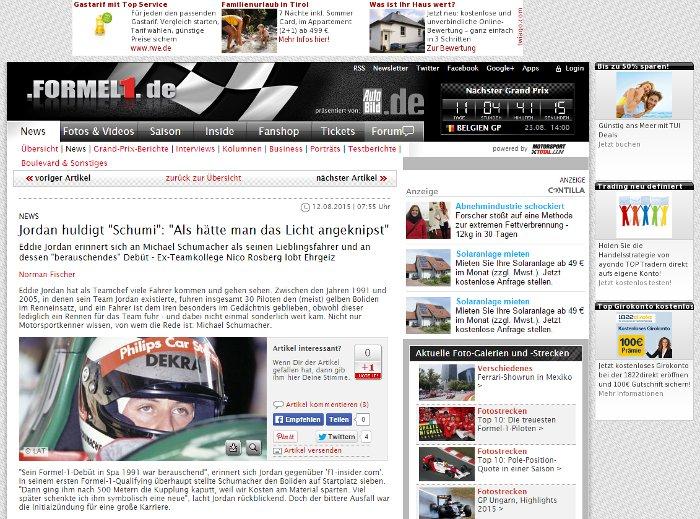 formel1.de mit Werbeblocker