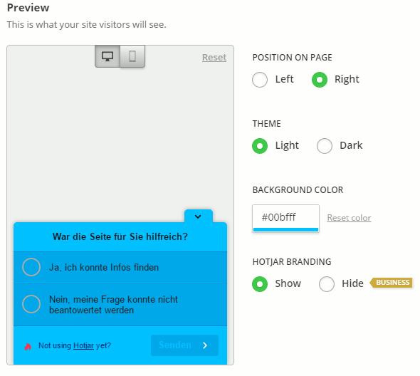 Hotjar Poll erstellen