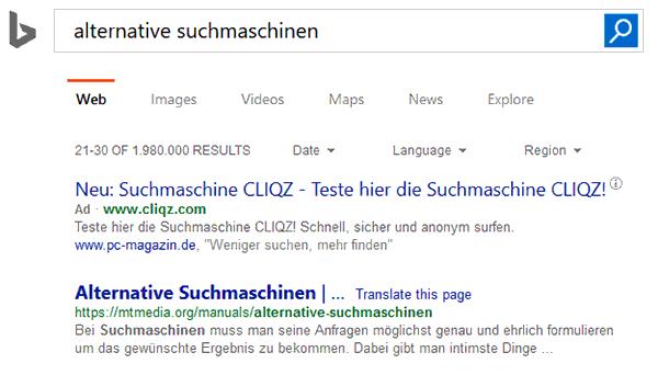 Bing - Suchmaschine