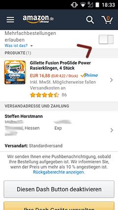 Amazon Dash Button Bestätigung