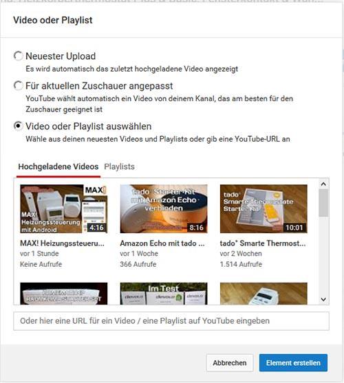 Video Auswahl für Abspann