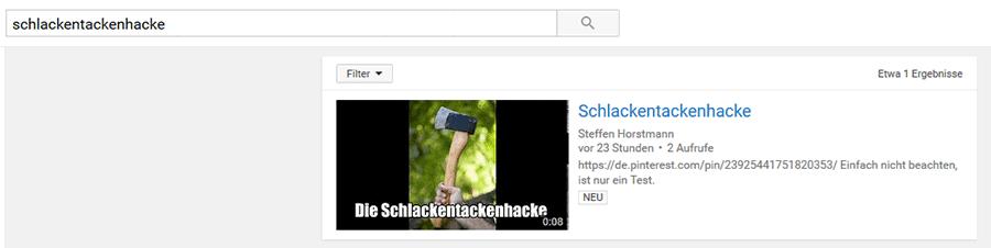 Schlackentackenhacke bei YouTube
