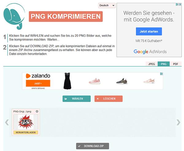 Webdienst Bildkomprimierung