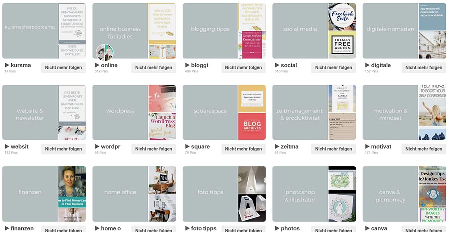 Pinterest Profil mit Board-Cover