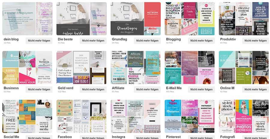 Pinterest Profil ohne Board-Cover