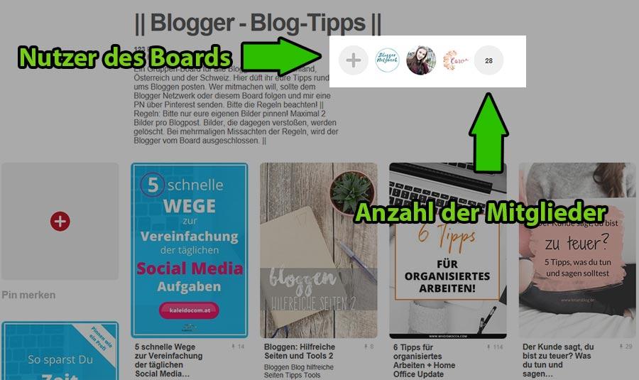 Pinterest Gruppenboard Nutzer