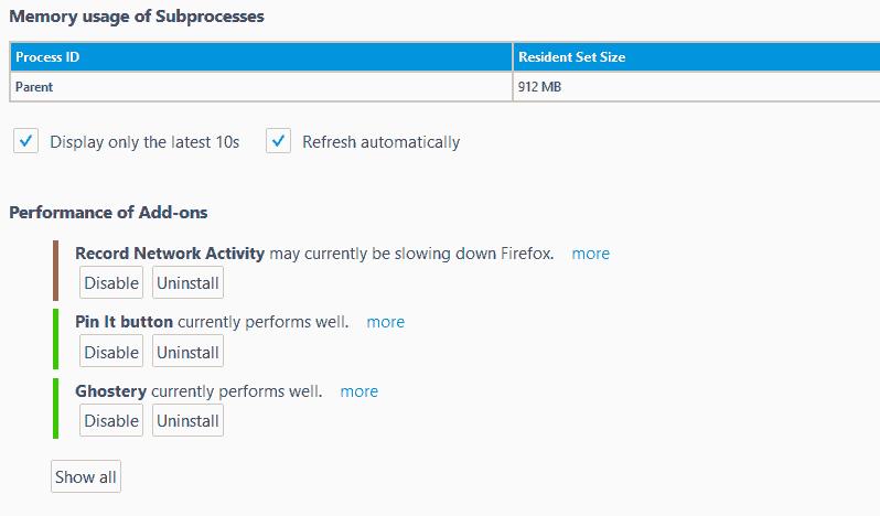 Firefox Performancve Übersicht