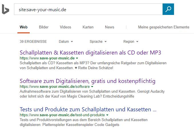 Bing Suchergebnisse