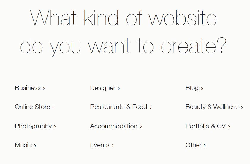 Wix Kategorien wählen
