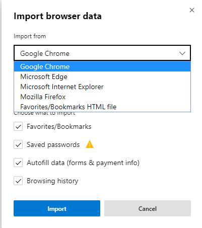 Import der Browserdaten in Edge