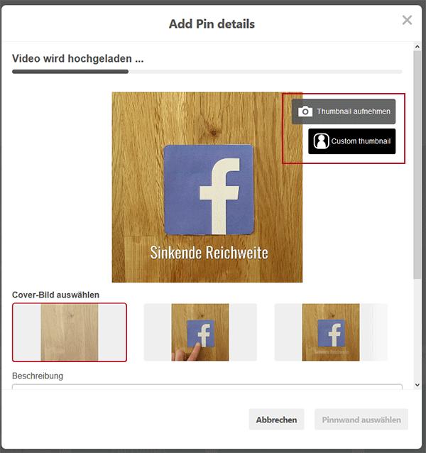 Pinterest Video-Upload Fenster