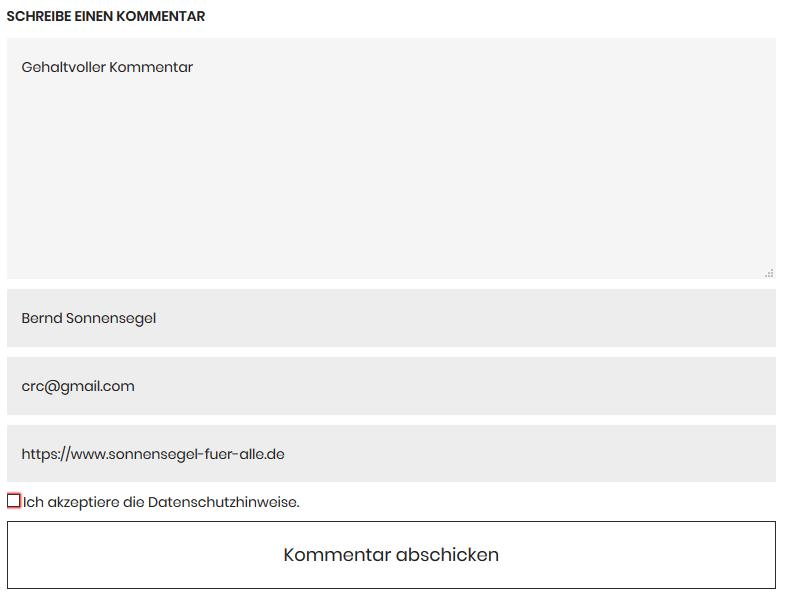 Kommentare mit Checkbox
