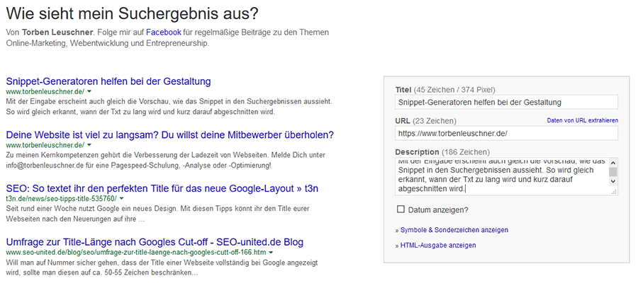 Snippet Generator Torben Leuschner