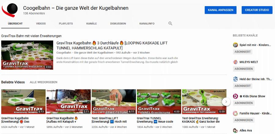 YouTube Kanal Startseite