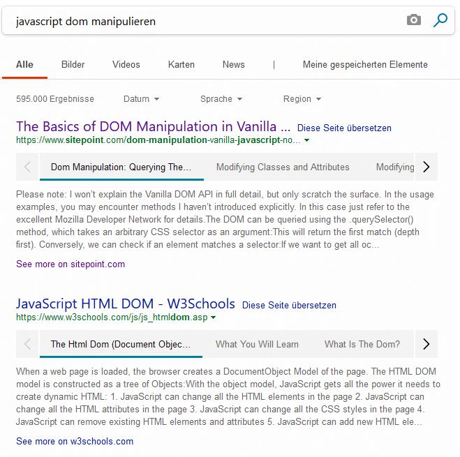Suchergebnisse bei Bing