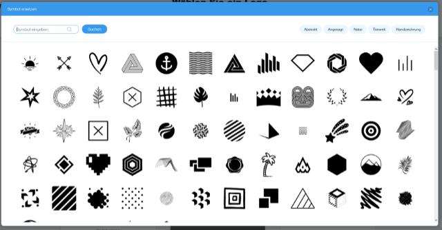 Wix Logo Maker Symbol Dialog#